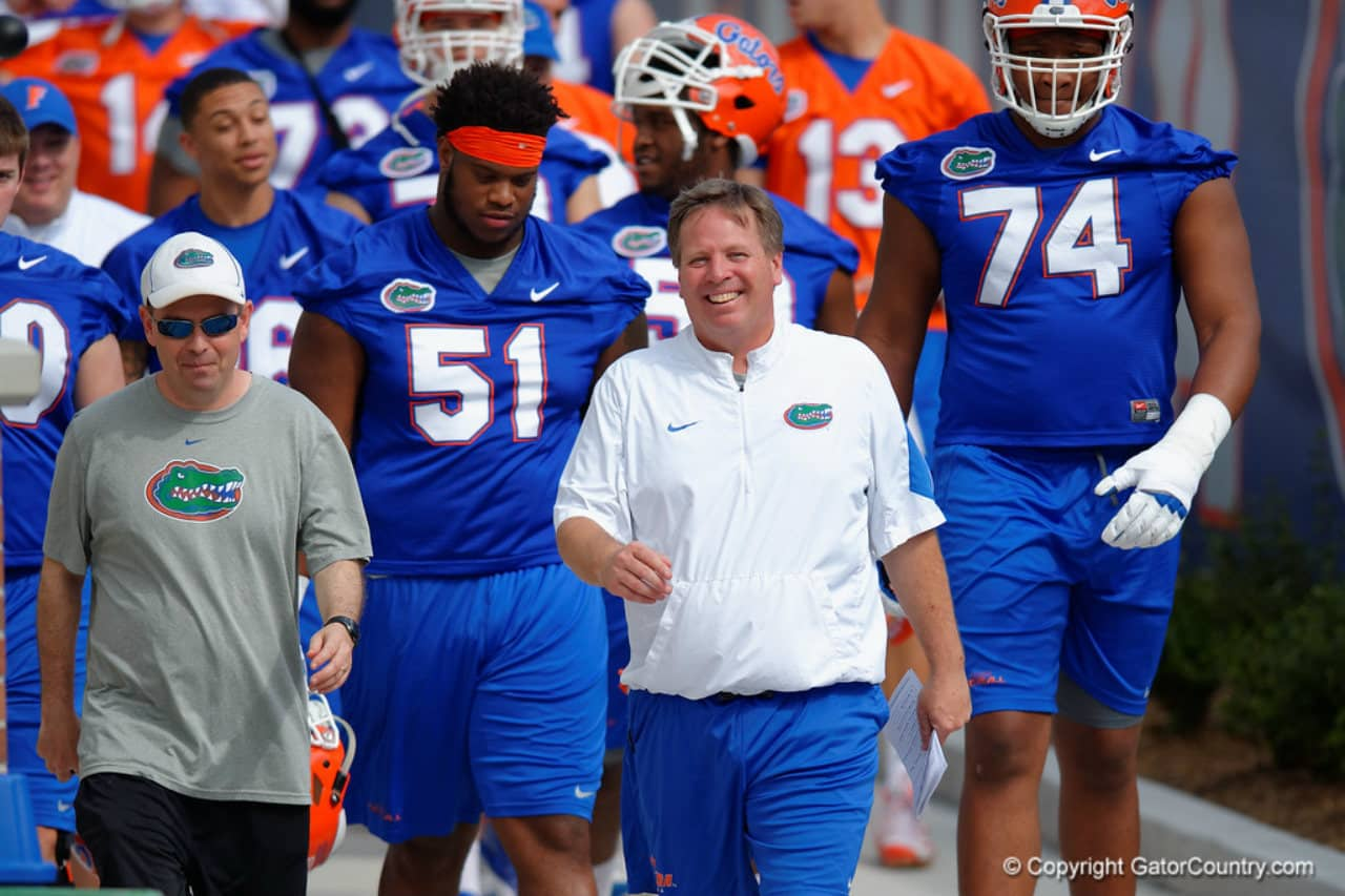 Florida Gators football coach Jim McElwain during spring 2016 practice- 1280x853