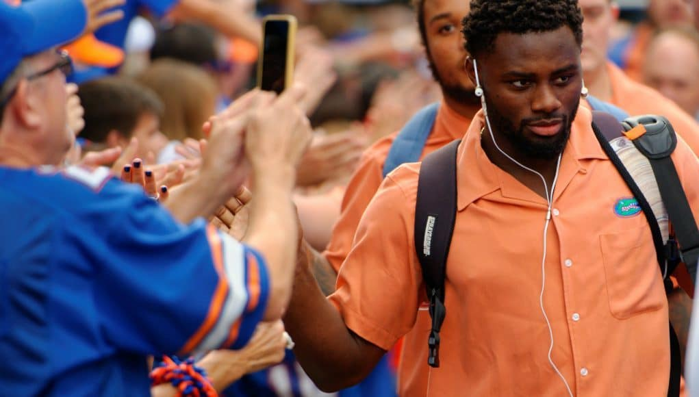 University of Florida cornerback Brian Poole greets fans during Gator Walk before the Florida Gators game vs. New Mexico State- Florida Gators football- 1280x852