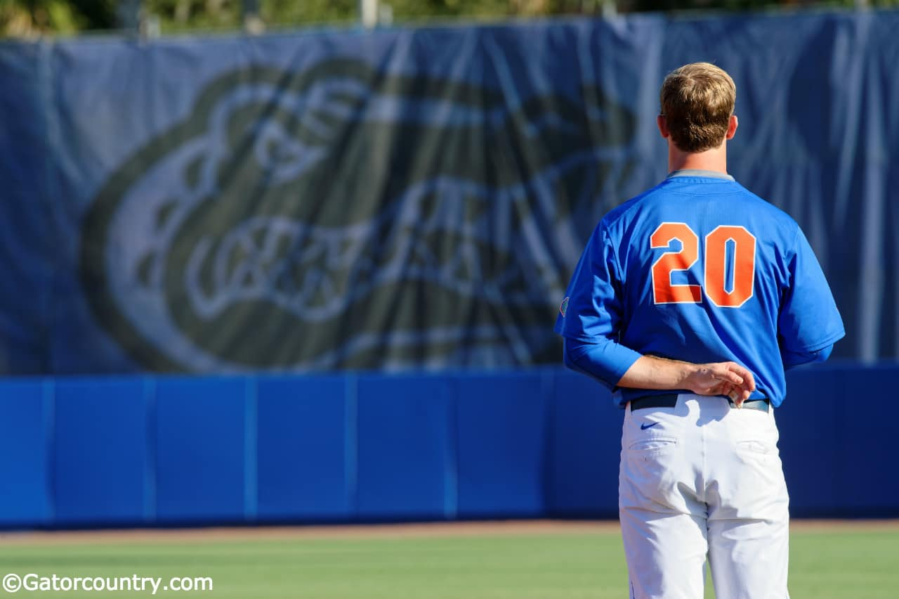 University of Florida first baseman Pete Alonso stands during the National Anthem before the Florida Gators second game of the 2016 season- Florida Gators baseball- 1280x852