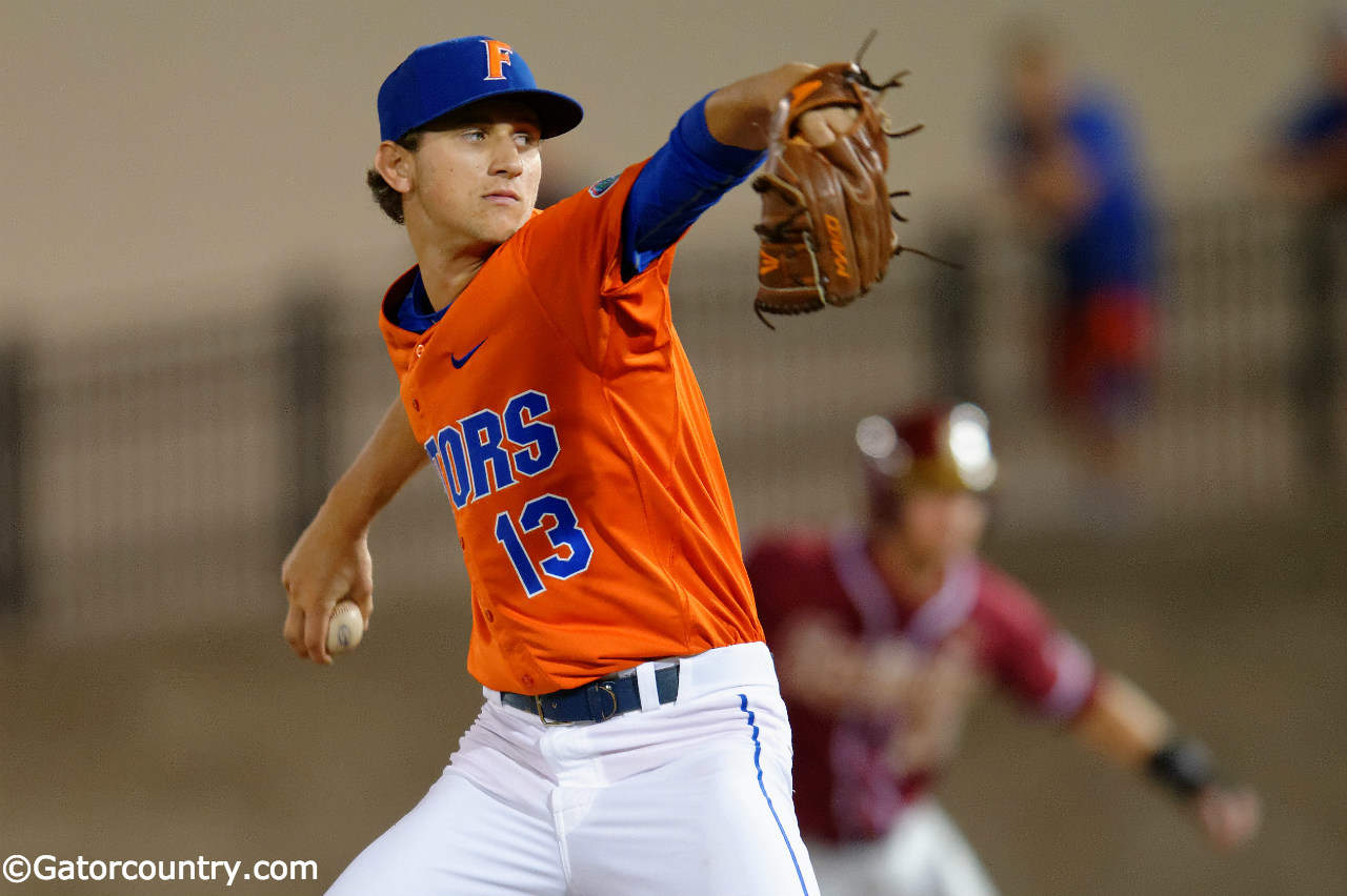 University of Florida freshman pitcher Jackson Kowar throws against Florida State- Florida Gators baseball- 1280x852