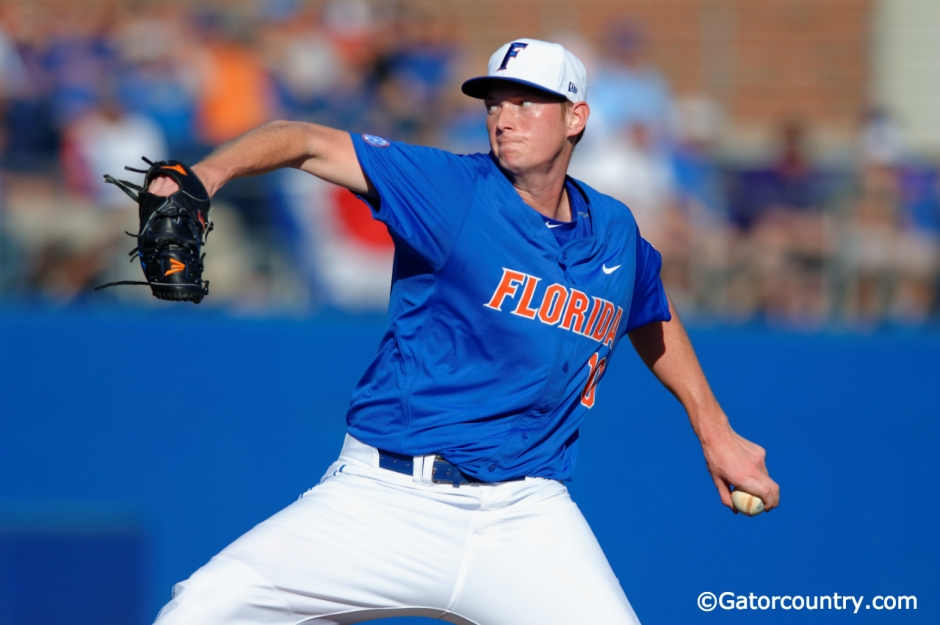 University of Florida junior A.J. Puk throws against Florida Gulf Coast during the opening weekend of the 2016 season- Florida Gators baseball- 1280x851