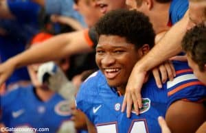 University of Florida offensive tackle Fred Johnson celebrates after the Florida Gators win over FAU in 2015- Florida Gators football- 1280x852