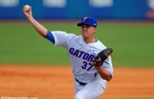 University of Florida pitcher Shaun Anderson throws against the Miami Hurricanes at McKethan Stadium in 2015- Florida Gators baseball- 1280x851