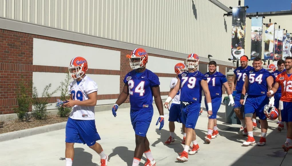 University of Florida running back Mark Thompson walks into his first spring practice with the Florida Gators- Florida Gators football- 1280x861