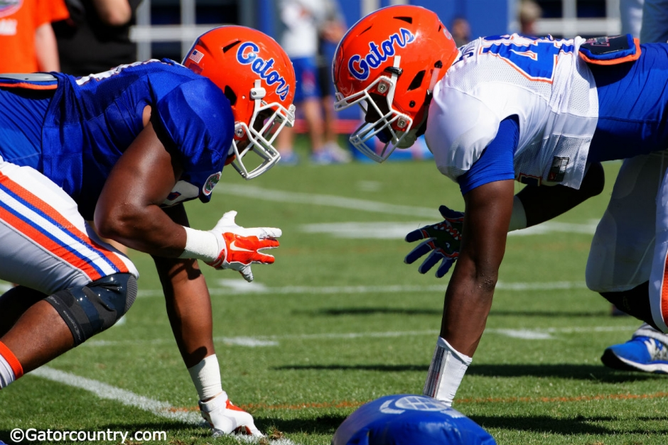 University of Florida tight end Cam Knight and freshman Jordan Smith line up during spring blocking drills- Florida Gators football- 1280x852