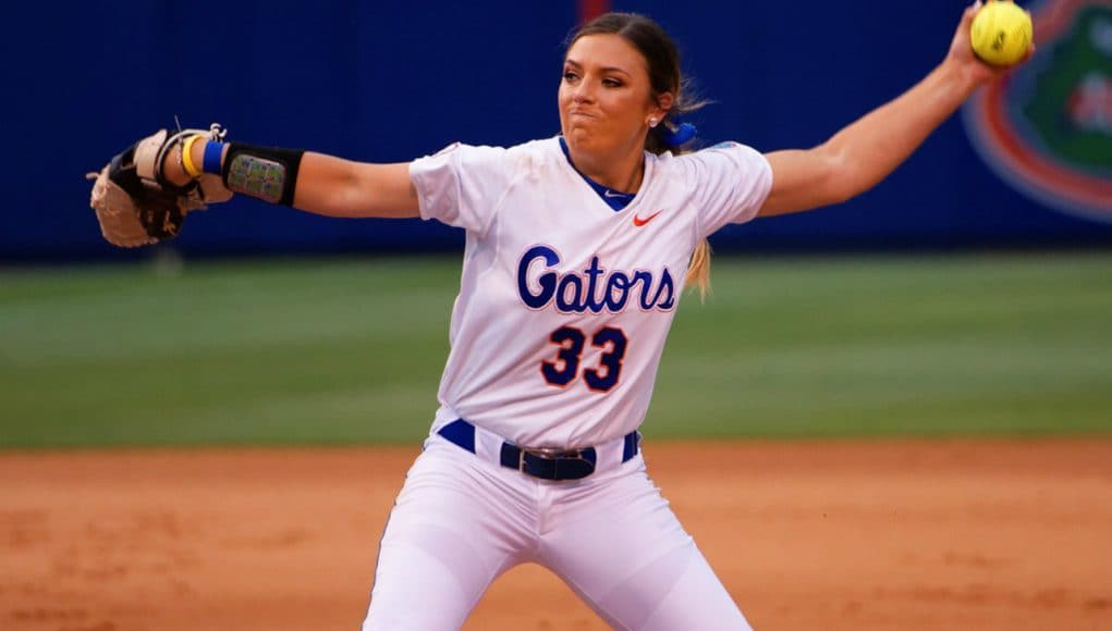 Florida Gators softball pitcher Delanie Gourley pitches against Florida State- 1280x855