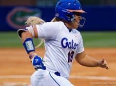 Florida Gators softball player Amanda Lorenz runs against Florida State- 1280x855