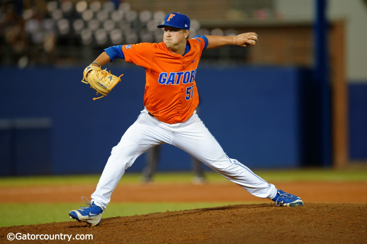 Kirby Snead delivers a pitch in a win against Florida State at McKethan Stadium in 2016- Florida Gators baseball- 1280x852
