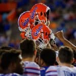 The Florida Gators football team gathers one last time after the 2016 Orange and Blue debut on Friday, April 8, 2016- Florida Gators football- 1280x852
