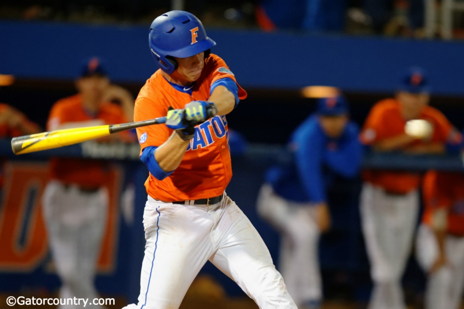 University of Florida catcher JJ Schwarz takes a swing during a win over Florida State at McKethan Stadium- Florida Gators baseball- 1280x852