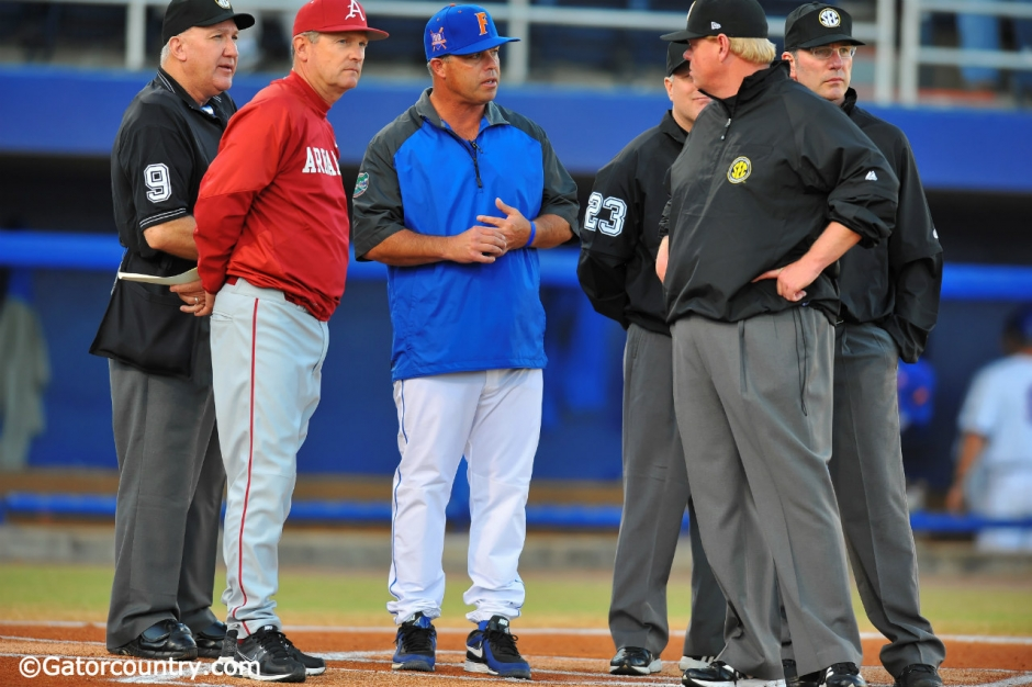 University of Florida head coach Kevin O'Sullivan meets with Arkansas Razorbacks head coach Dave Van Horn before Florida hosts Arkansas in 2013- Florida Gators baseball- 1280x852