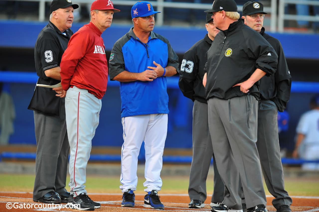 University of Florida head coach Kevin O'Sullivan meets with Arkansas Razorbacks head coach Dave Van Horn before Florida hosts Arkansas in 2013- Florida Gators baseball- 1280x852