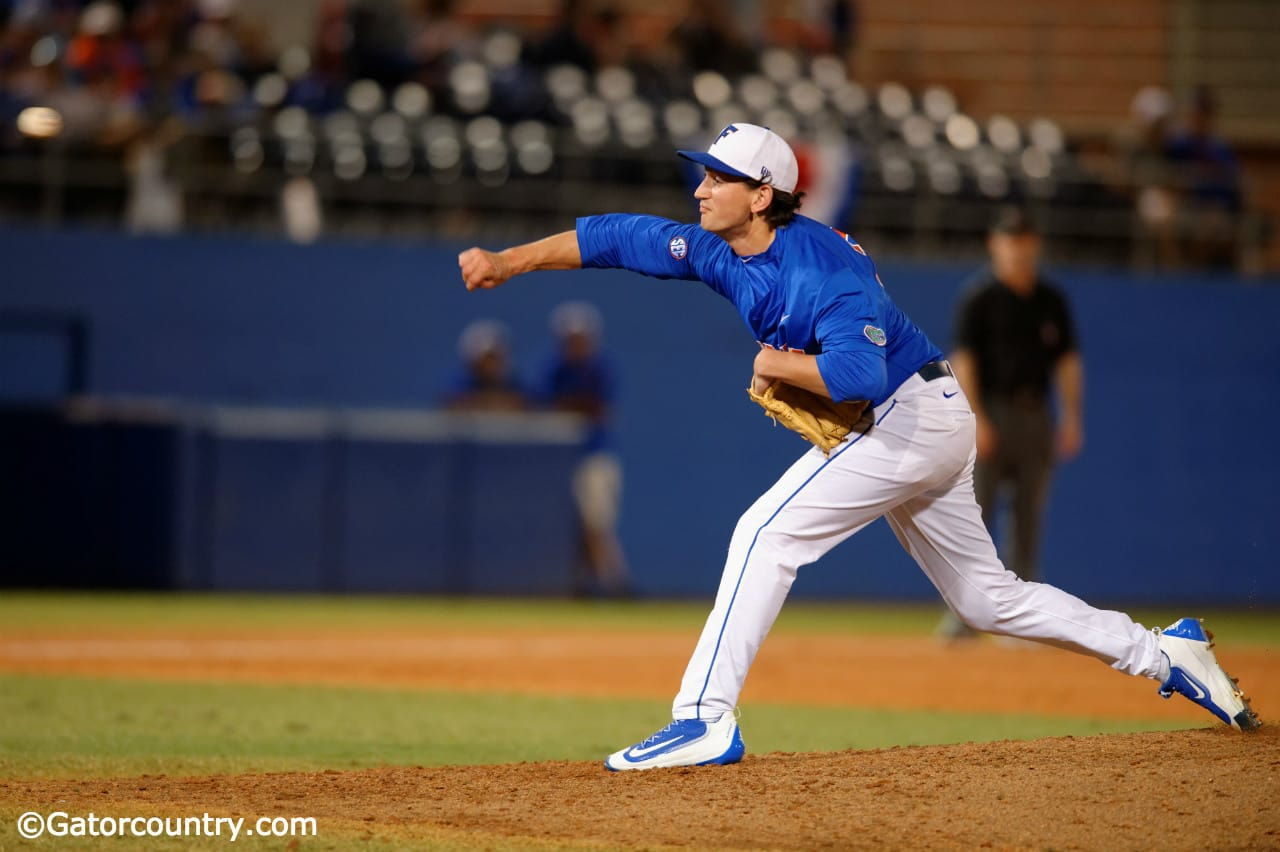 University of Florida junior Frank Rubio throws against Florida Gulf Coast in the Florida Gators second game of the 2016 season- Florida Gators baseball- 1280x852