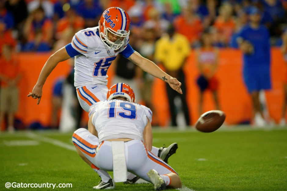 University of Florida kicker Eddy Pineiro attempts a field goal during the Orange and Blue Debut on Friday April 8, 2016- Florida Gators football- 1280x852