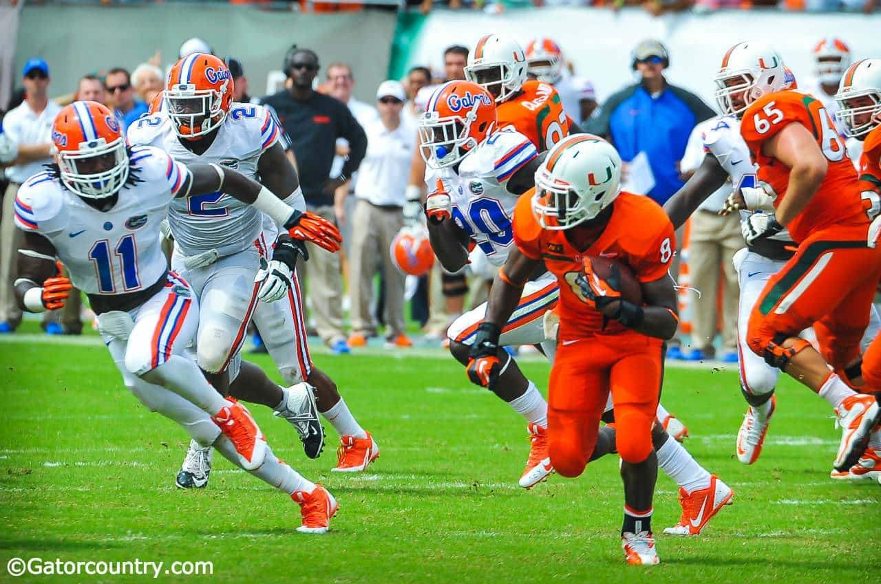 University of Florida linebacker Neiron Ball chases Miami Hurricane running back Duke Johnson during Florida's loss at Miami on Saturday, September 7 2013- Florida Gators football 1280x849