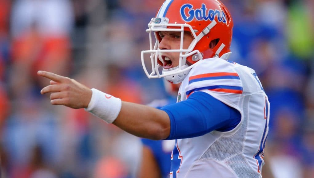 University of Florida quarterback Luke Del Rio makes a call at the line during the Orange and Blue Debut on Friday, April 8 2016- Florida Gators football- 1280x852