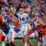 University of Florida redshirt sophomore quarterback Luke Del Rio throws a pass during the 2016 Orange and Blue Debut- Florida Gators football- 1280x852T