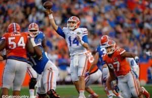 University of Florida redshirt sophomore quarterback Luke Del Rio throws a pass during the 2016 Orange and Blue Debut- Florida Gators football- 1280x852T