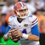 University of Florida redshirt sophomore quarterback Luke Del Rio throws a pass during the Orange and Blue Debut- Florida Gators football- 1280x852