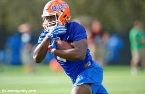 University of Florida running back Mark Thompson carries the ball during the Gators first spring practice in 2016- Florida Gators football- 1280x852