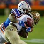 University of Florida safety Keanu Neal tackles FSU running back Dalvin Cook- Florida Gators football- 1280x852