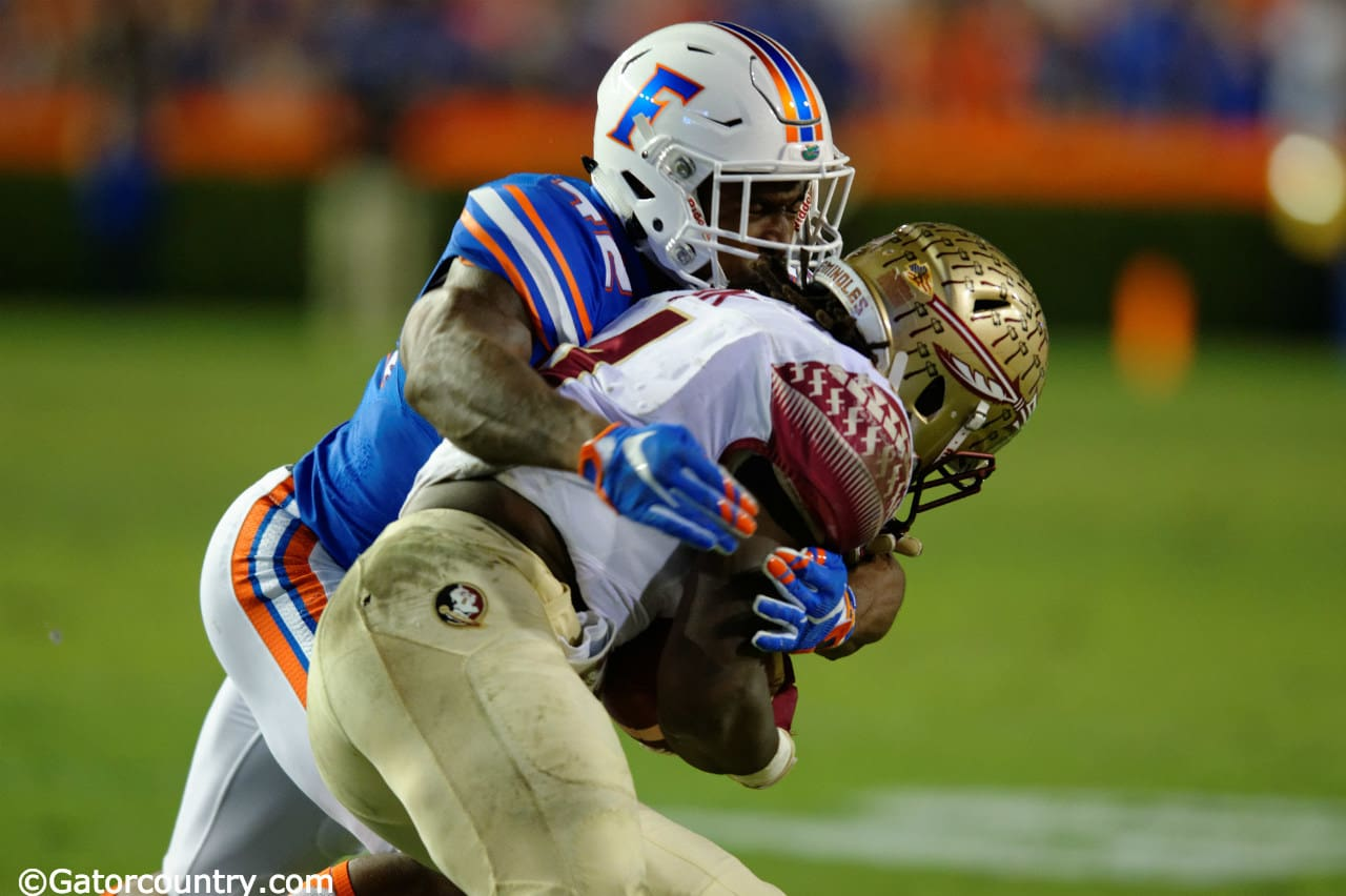 University of Florida safety Keanu Neal tackles FSU running back Dalvin Cook- Florida Gators football- 1280x852