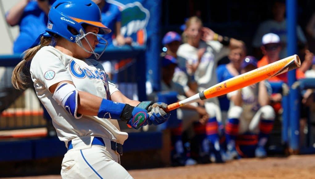 Florida Gators softball player Nicole DeWitt hits in 2016- 1280x853