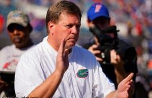 University of Florida head coach Jim McElwain leads his team through warmups before the Florida Gators game against the Georgia Bulldogs in 2015- Florida Gators football- 1280x852