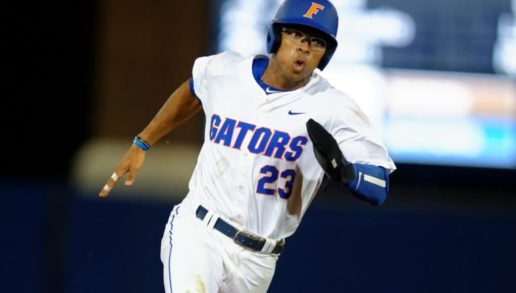 University of Florida outfielder Buddy Reed rounds third base before scoring the go-ahead run against Vanderbilt- Florida Gators baseball- 1280x852