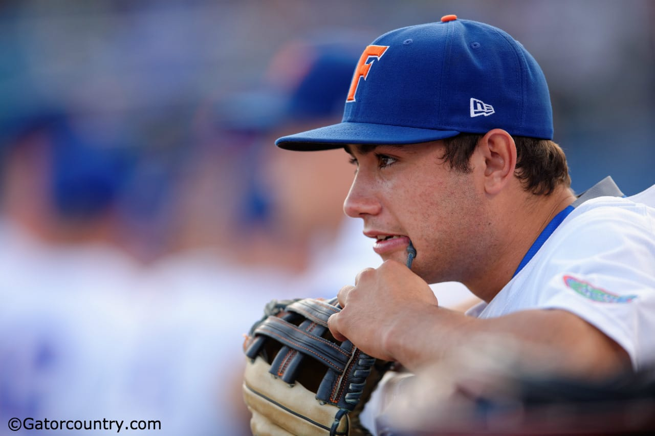 University of Florida outfielder Nick Horvath waits to take the field against the Vanderbilt Commodores- Florida Gators baseball-1280x852