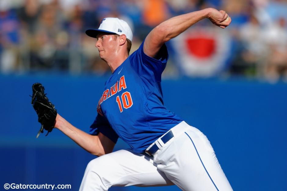 University of Florida pitcher A.J. Puk delivers against Florida Gulf Coast during the first series in 2016- Florida Gators baseball- 1280x852