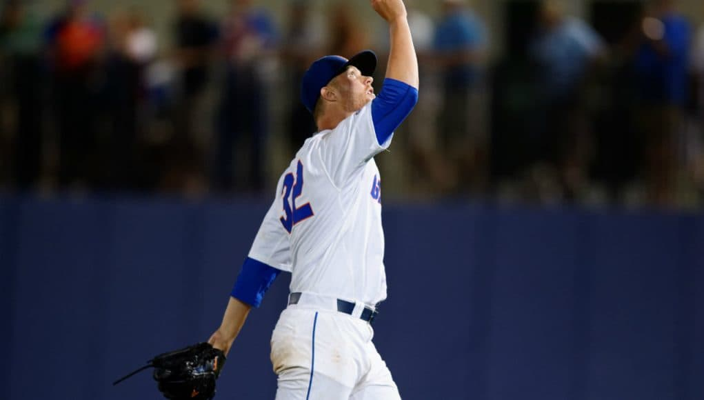 University of Florida pitcher Logan Shore celebrates his 10th win of the season against Vanderbilt- Florida Gators baseball- 1280x852