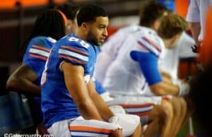 University of Florida receiver Ryan Sousa watches the Orange and Blue Debut in 2016- Florida Gators football- 1280x852
