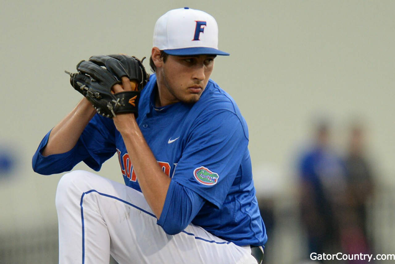Florida Gators baseball pitcher Alex Faedo pitches against Georgia Tech- 1280x854