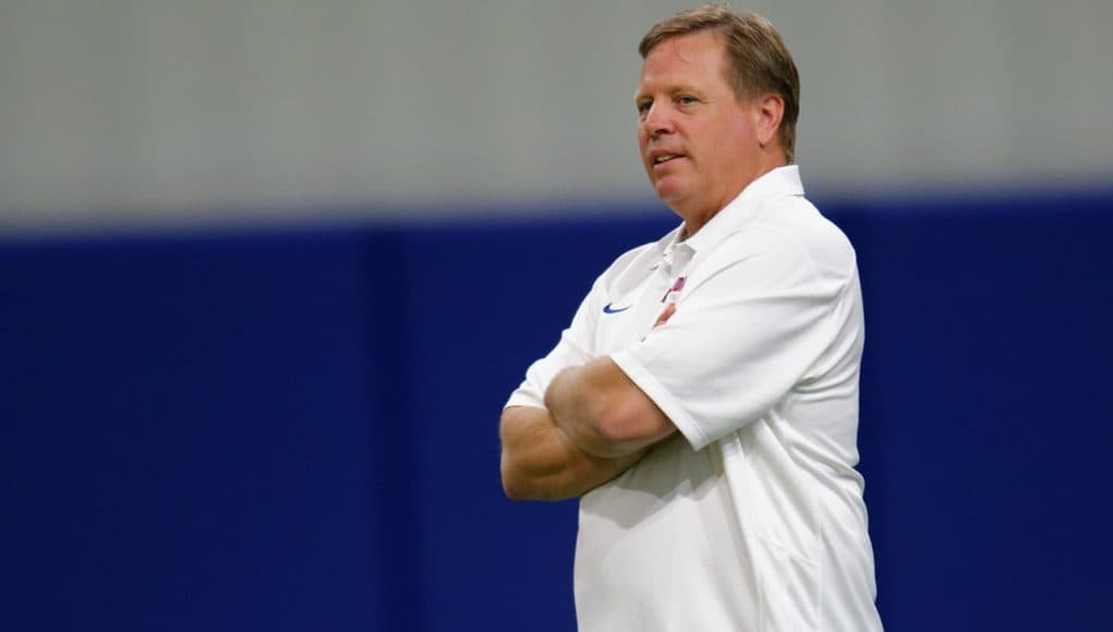 Florida Gators head coach Jim McElwain watches over Gators camp- 1280x853