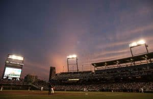 Jun 17, 2015; Omaha, NE, USA; A general view of TD Ameritrade Park during the game against the Florida Gators and the Miami Hurricanes in the sixth inning in the 2015 College World Series. The Gators won 10-2. Mandatory Credit: Bruce Thorson-USA TODAY Sports