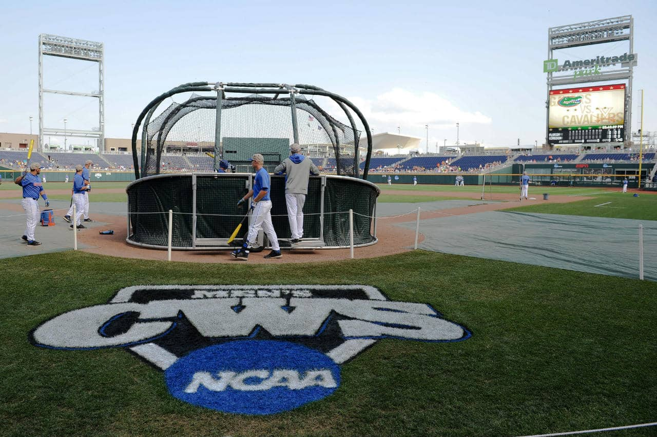 Jun 20, 2015; Omaha, NE, USA; The Florida Gators take batting practice before the game against the Virginia Cavaliers in the 2015 College World Series at TD Ameritrade Park. Mandatory Credit: Steven Branscombe-USA TODAY Sports