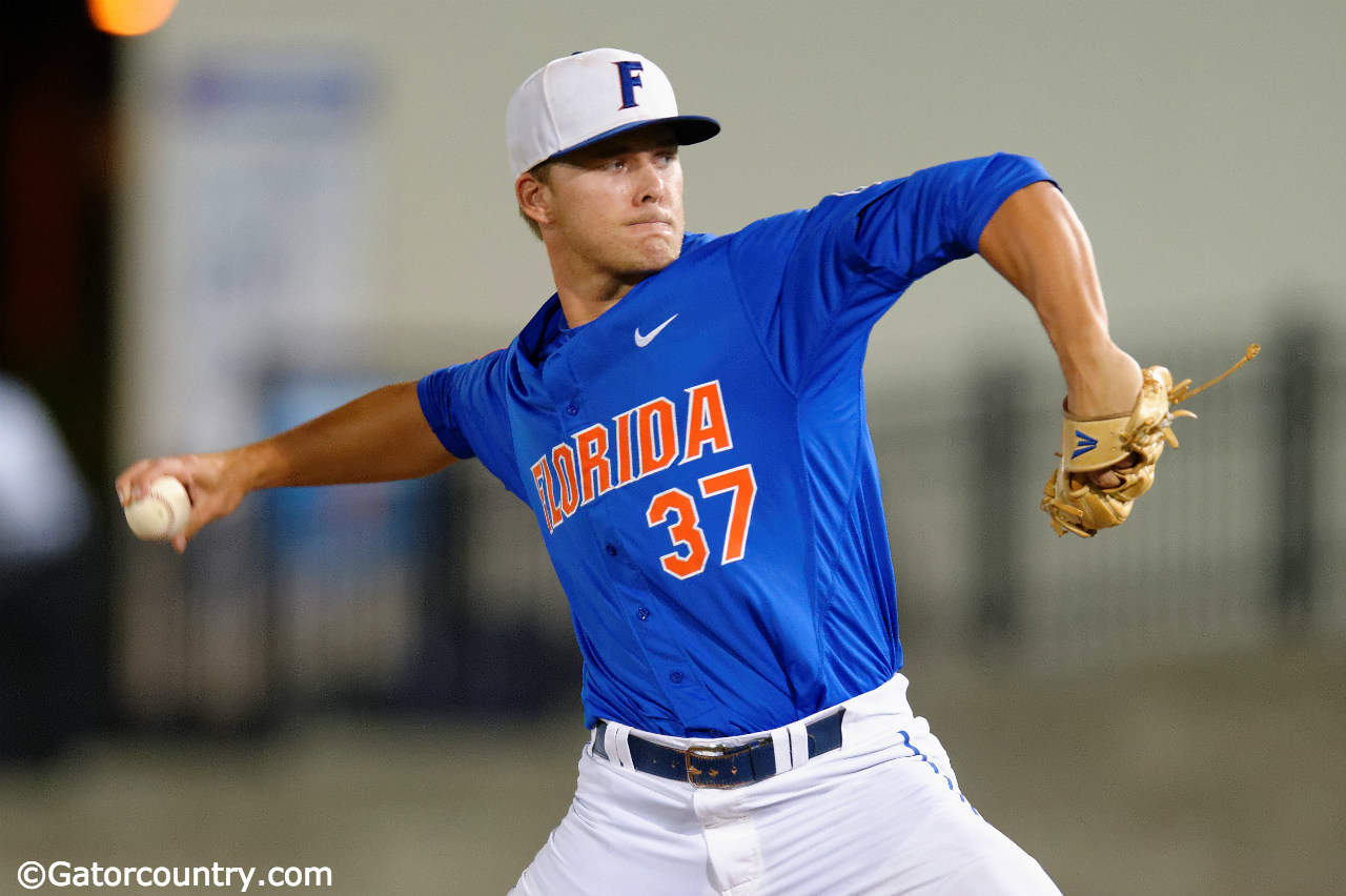 University of Florida closer Shaun Anderson pitches in the ninth inning of a 10-1 NCAA Regional win over Georgia Tech- Florida Gators baseball- 1280x852