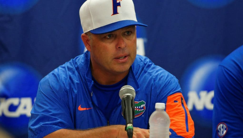 University of Florida head coach Kevin O'Sullivan speaks with the media after the Florida Gators' Super Regional win over Florida State- Florida Gators baseball- 1280x852