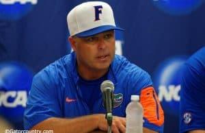 University of Florida head coach Kevin O'Sullivan speaks with the media after the Florida Gators' Super Regional win over Florida State- Florida Gators baseball- 1280x852