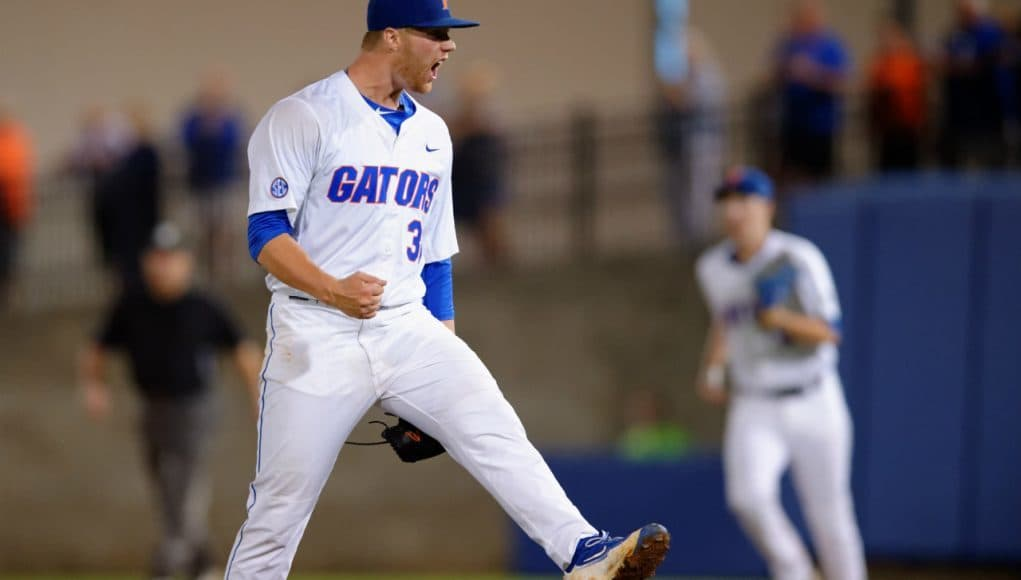 University of Florida junior Logan Shore reacts to the final out of a complete game victory against Vanderbilt- Florida Gators baseball- 1280x852