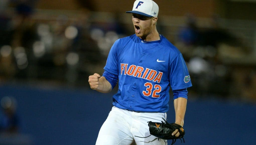 University of Florida pitcher Logan Shore reacts after striking out the side in a Super Regional win over FSU- Florida Gators baseball- 1280x852