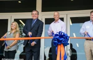University of Florida President Kent Fuchs and Athletic Director Jeremy Foley cut the ribbon to officially open the Otis Hawkins Center at Farrior Hall- Florida Gators- 1280 x 852