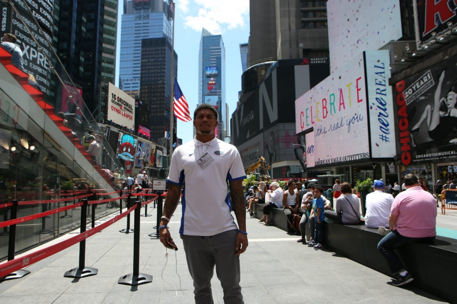 University of Florida cornerback Jalen Tabor stands in Times Square in New York City during a media tour- Florida Gators football- 1280x853