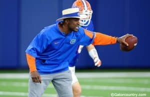 University of Florida defensive backs coach Torrian Gray coaches during spring football camp- Florida Gators football- 1280x852