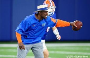 University of Florida defensive backs coach Torrian Gray coaches during spring football camp- Florida Gators football- 1280x852