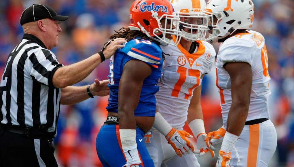 University of Florida linebacker Daniel McMillian gets in the face of a Tennessee player in a 2015 win in Gainesville- Florida Gators football- 1280x852