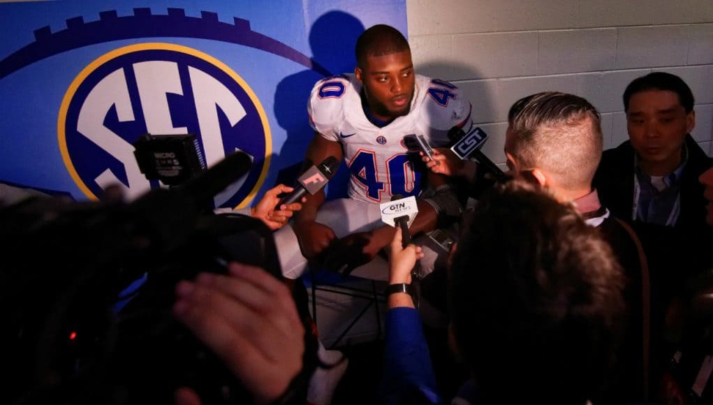 University of Florida linebacker Jarrad Davis speaks with the media following the Florida Gators loss in the SEC Championship game- Florida Gators football- 1280x852
