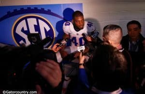 University of Florida linebacker Jarrad Davis speaks with the media following the Florida Gators loss in the SEC Championship game- Florida Gators football- 1280x852