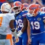 University of Florida punter Johnny Townsend and safety Marcell Harris react after Cam Sutton returned a punt against Florida in 2015- Florida Gators football- 1280x852